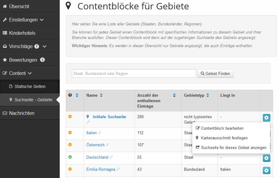 Portal Management - discoverize - content Blöcke für Gebiete verwalten