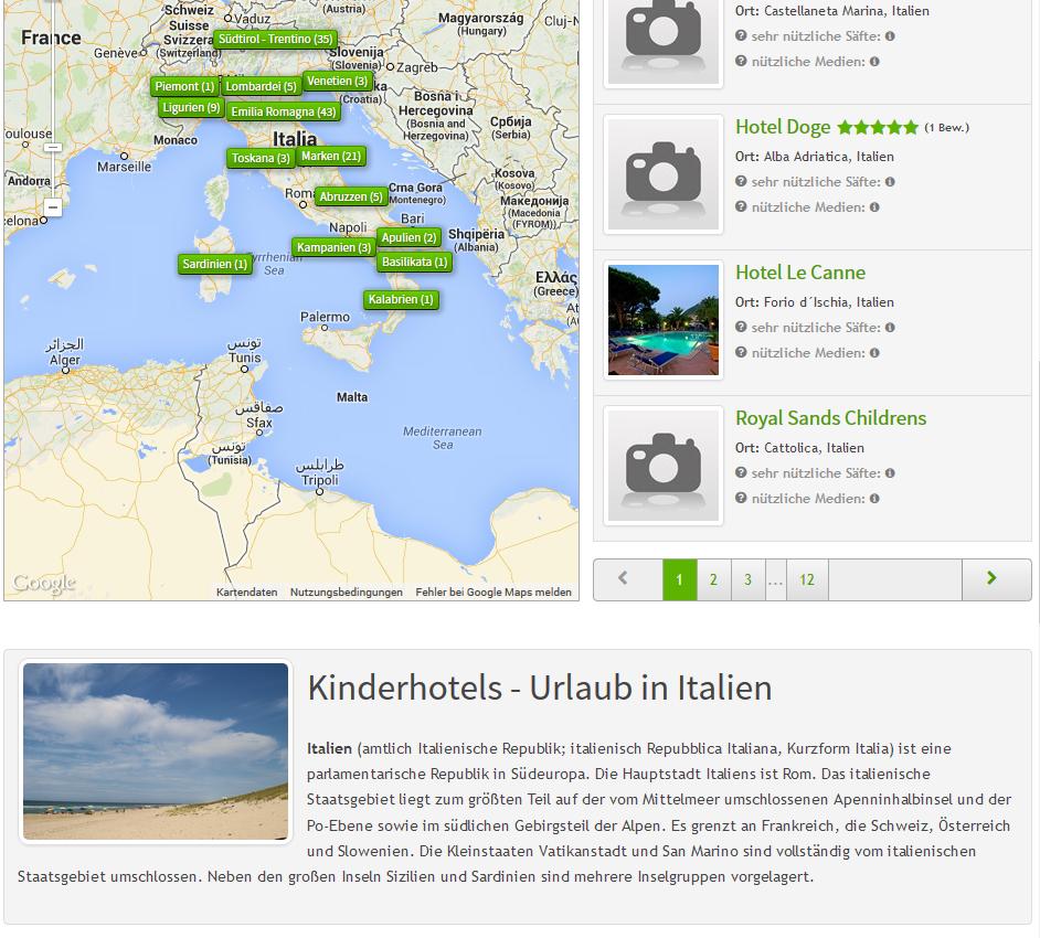 Content Block Suchseite am Beispiel von Italien
