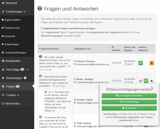 Fragen und Antworten Abarbeiten im Portal Management eines discoverize Branchenportals