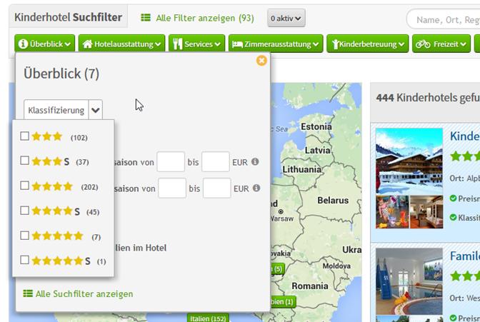 Kategorie mit Icons - Beispiel Hotelkategorie/Klassifizierung als Filter