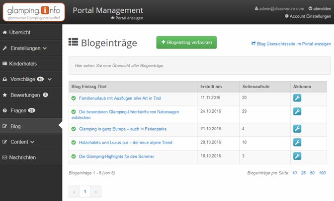 Blog Einträge Übersicht im Management