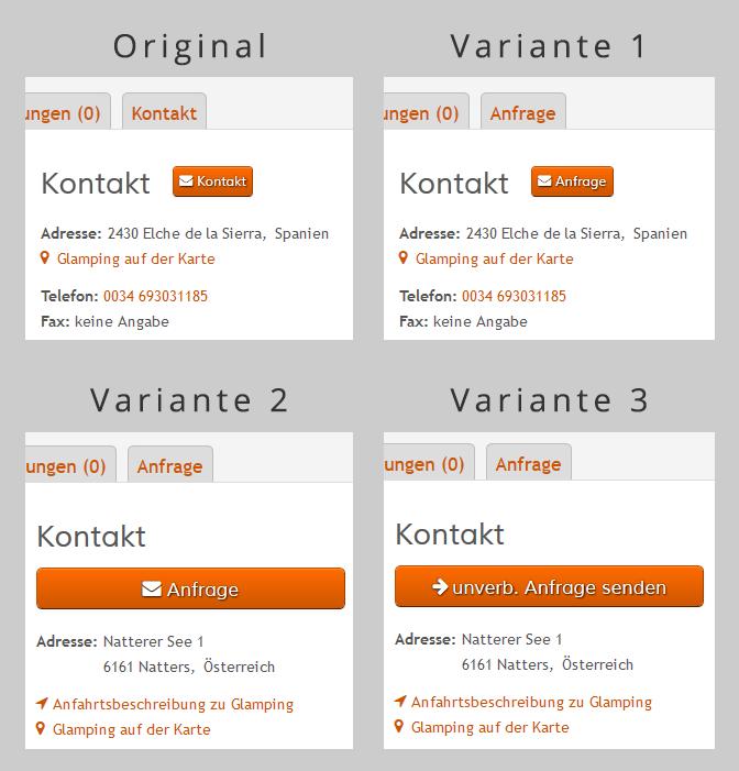 A/B Test Original und Varianten für Kontakt Button und Tab - Design und Text