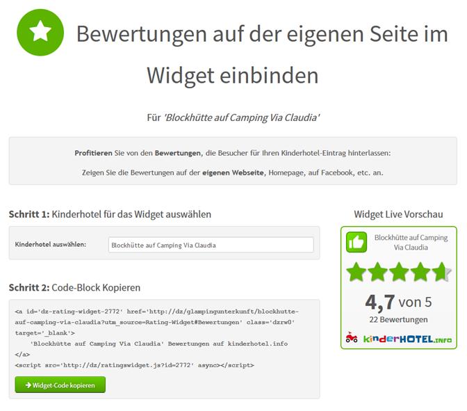 Bewertungen auf der eigenen Seite einbinden mit Widget
