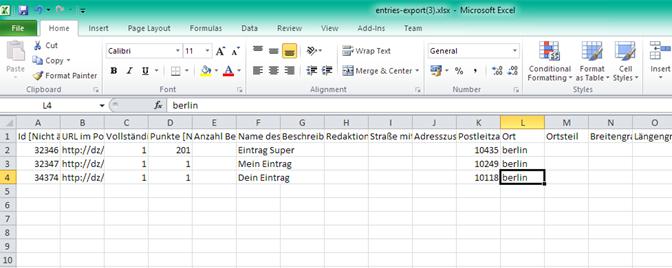 Dateien im .xlsx Format von Excel importieren