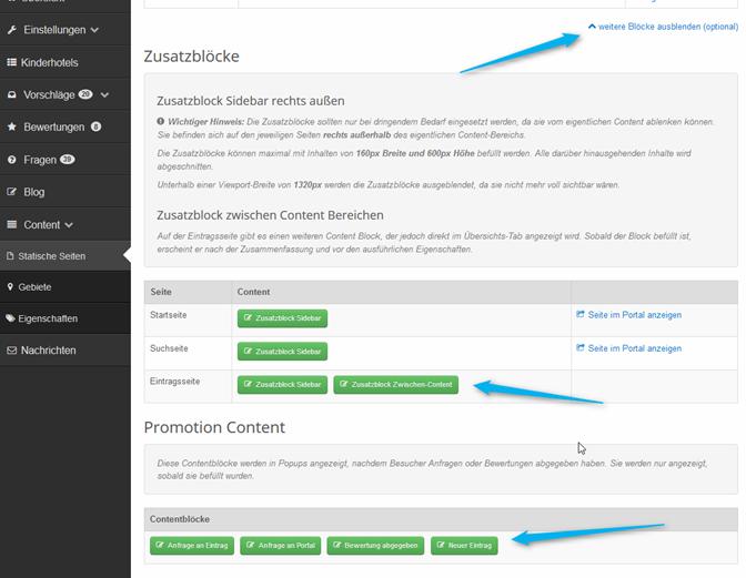 Zusatz Content Blöcke im Portal Management verwalten
