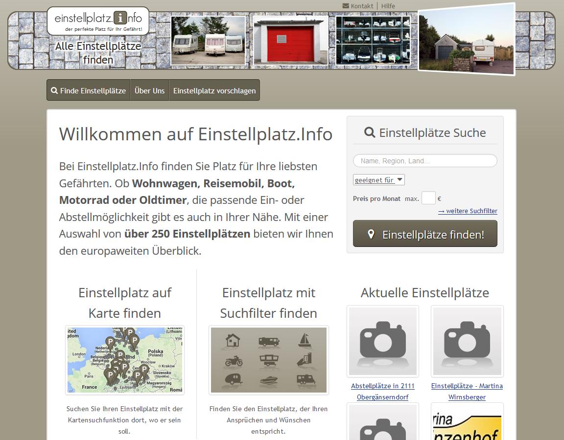 einstellplatz.info - Portal für Ein- und Abstellmöglichkeiten von Wohnwagen, Reisemobil, Boot, Motorrad oder Oldtimer