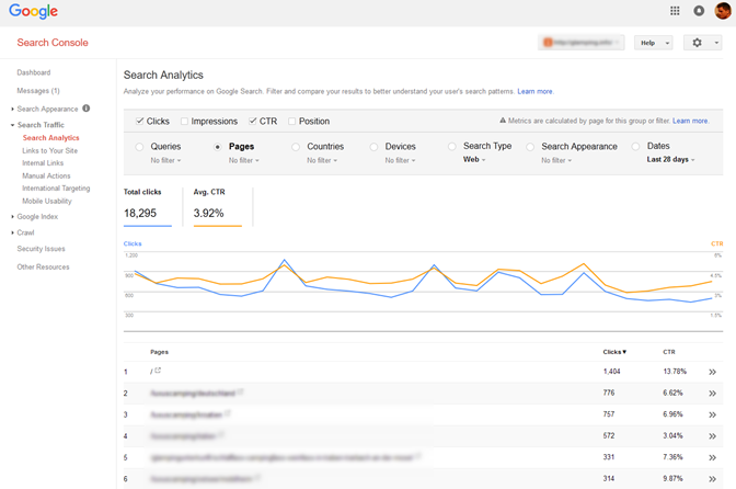 click-through-rate in google webmaster console überwachen
