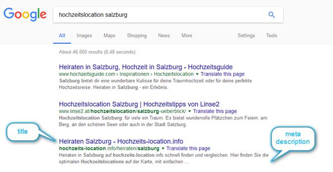 Snippet mit title und metadescription in google - SERP
