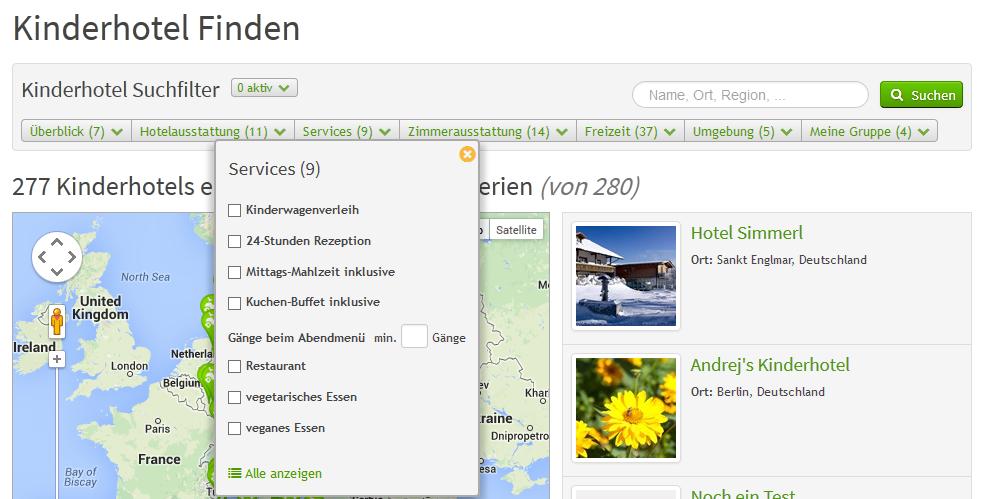 Suchseite Suchfilter Dropdown | discoverize - die individuelle Web Portal Software für branchen-spezifische Web Portale