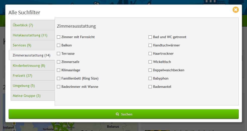 Suchseite alle Suchfilter Popup | discoverize - die individuelle Web Portal Software für branchen-spezifische Web Portale