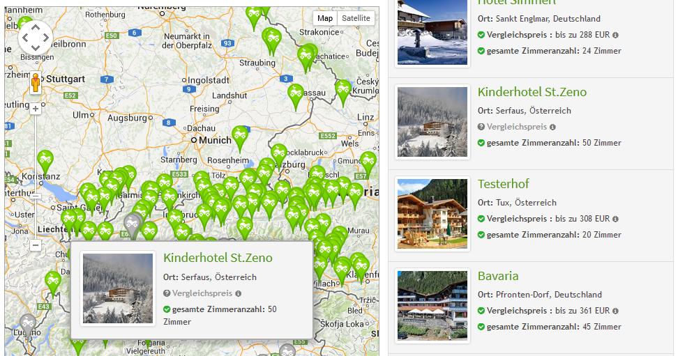 Suchseite - größere Karte, die mit-scrollt und informative Karten-Popups zu jedem Icon | discoverize - die individuelle Web Portal Software für branchen-spezifische Web Portale