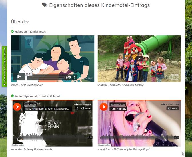 eingebettete Videos von youtube und vimeo und Audiotracks von soundcloud auf der Eintragsseite bei den anderen Eigenschaften