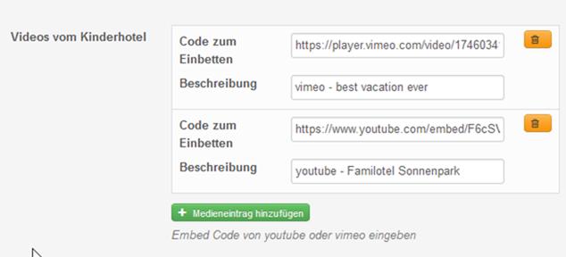 Videos von Vimeo und Youtube und Audiotracks von soundcloud via iframe code einbetten