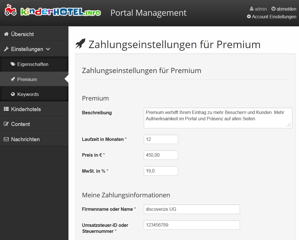 Premium Einstellungen im Portal Management festlegen | discoverize