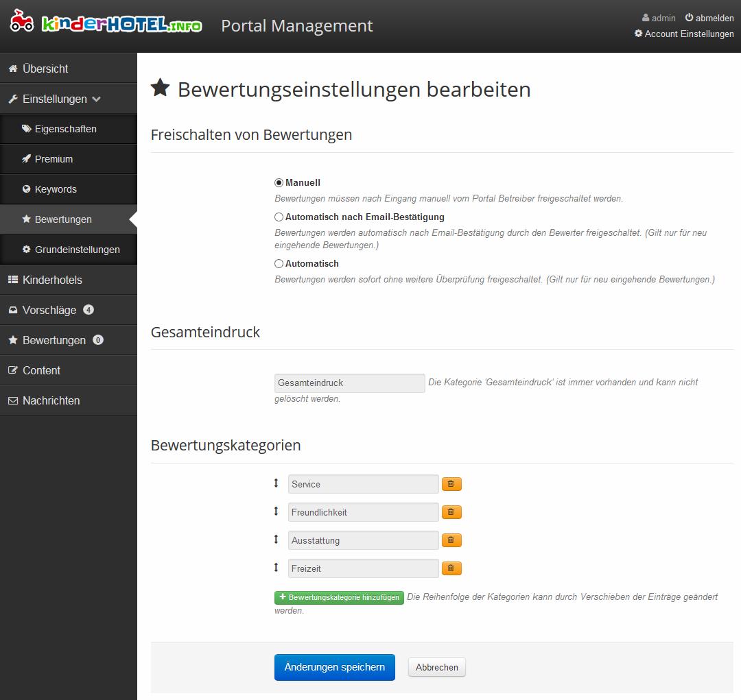 Bewertungseinstellungen im Portal Management von discoverize