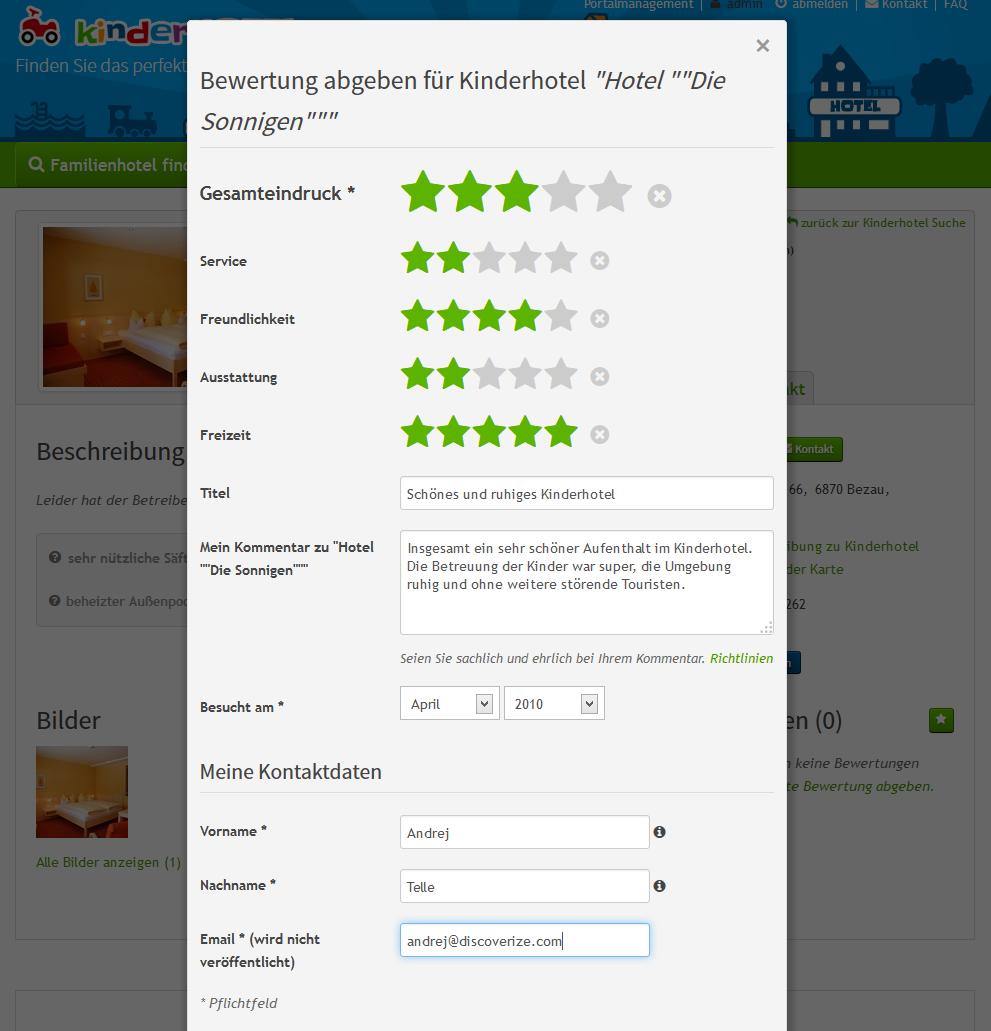 Abgeben der Bewertung in der Web Anwendung discoverize