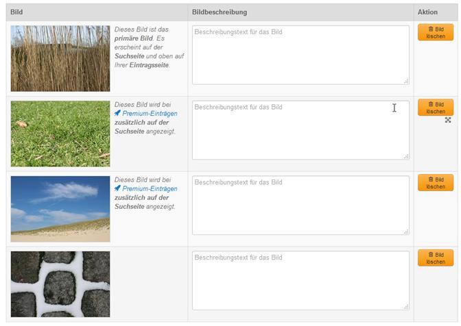 Hinweis auf 2 zusätzliche Bilder für Premium-Einträge im Bilder-Tab