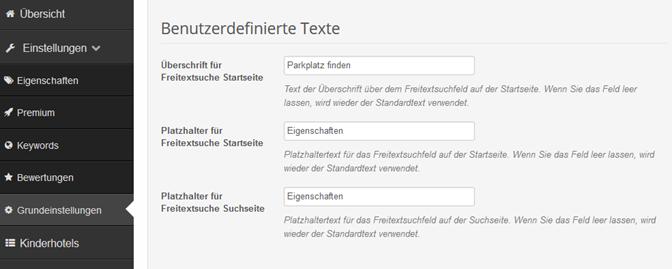 Dienstleisterportale: Freitextsuche Texte anpassen