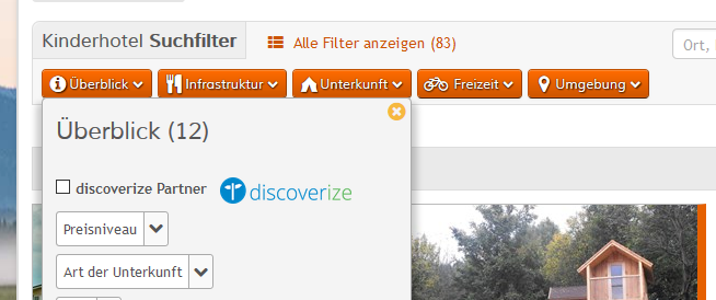 Anzeige Affiliate Partner Bild mit Logo in den Suchfiltern