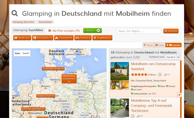 Suchseite Layout: Karte und Liste