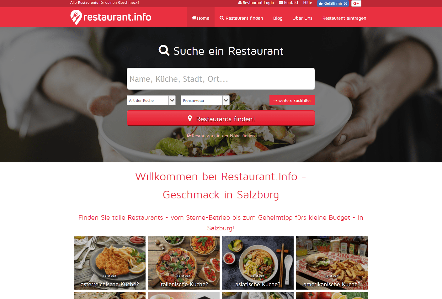 Design über die gesamte Breite für das Branchenportal restaurant.info