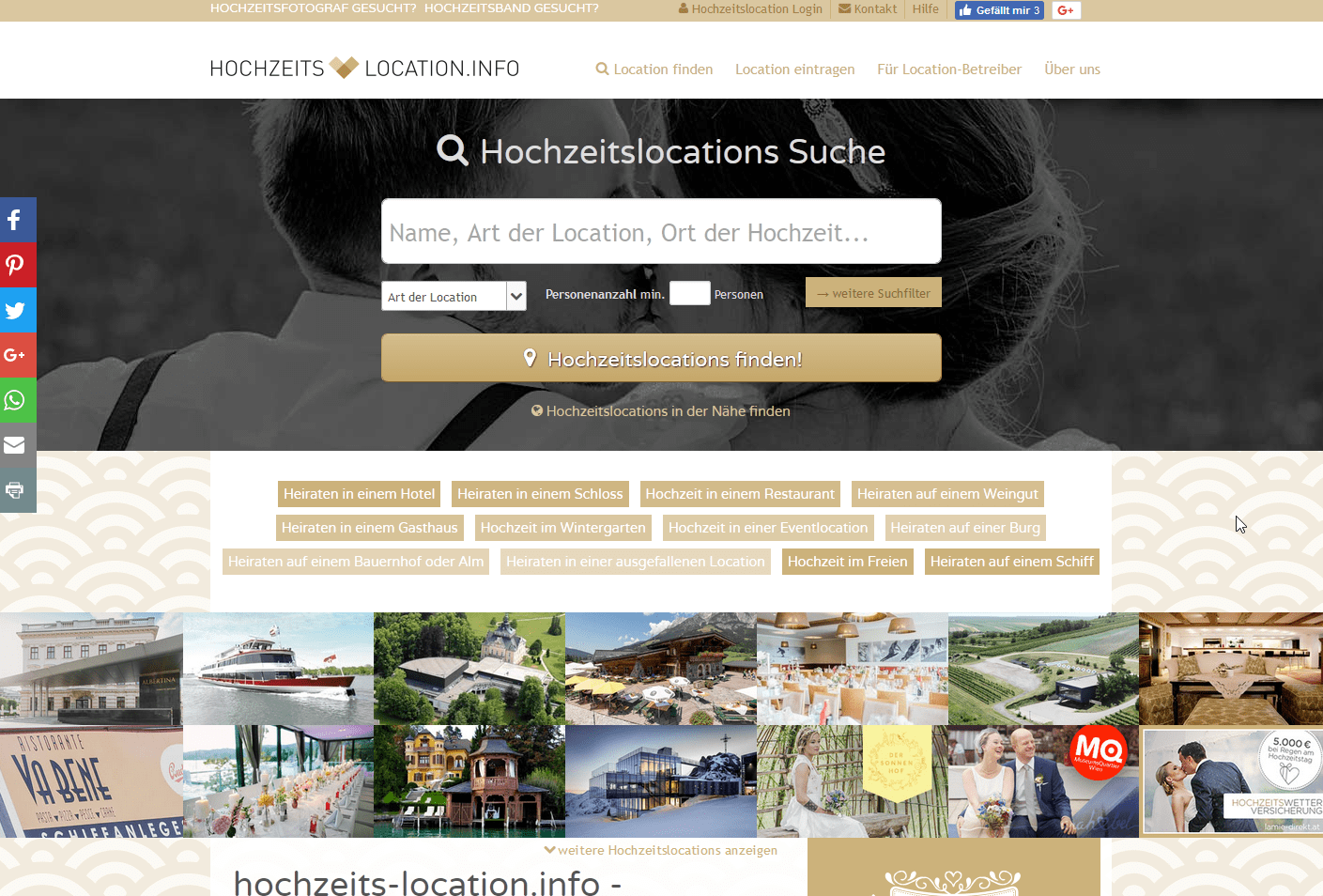 komplett individuelle Startseite beim Hochzeits-Location Branchenportal