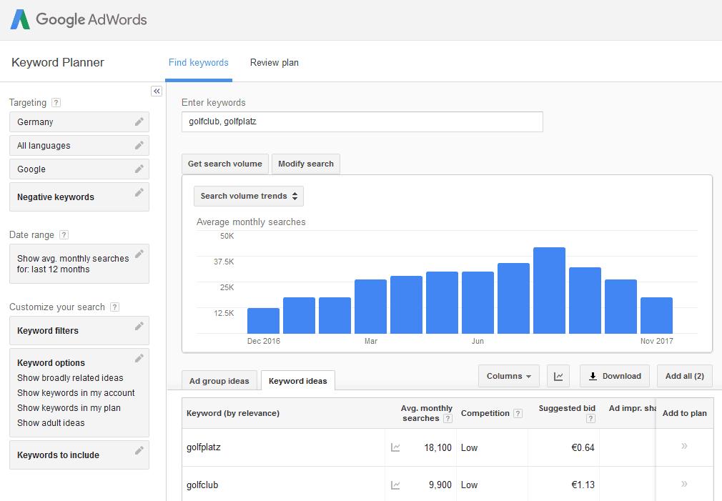 SEO Keyword Recherche für Branchenportale mit Google Adwords Planner