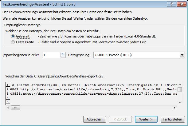 csv Branchenportal Export in Excel öffnen