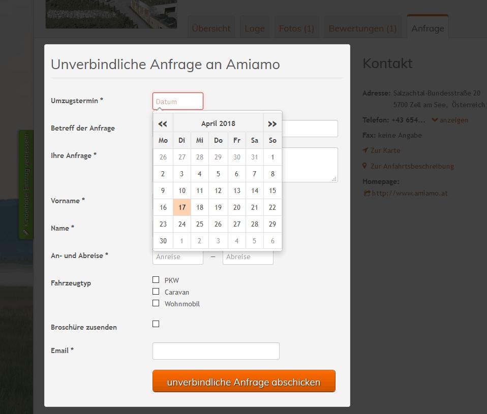 Beispiel für individuelles Anfrage-Formular im Branchenportal