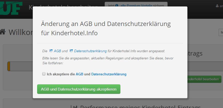 Eintragsbetreiber akzeptieren geänderte AGB und Datenschutz im Branchenportal