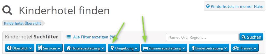 icons für Suchfiltergruppen im Branchenportal