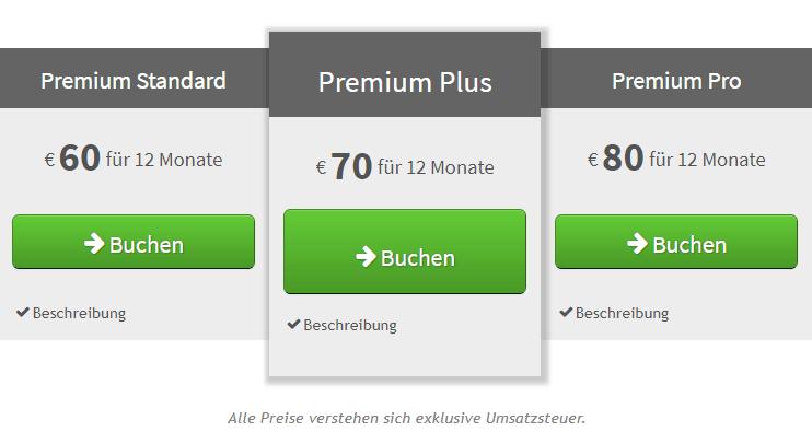 Premium-Produkte mit Preisen exklusive Umsatzsteuer