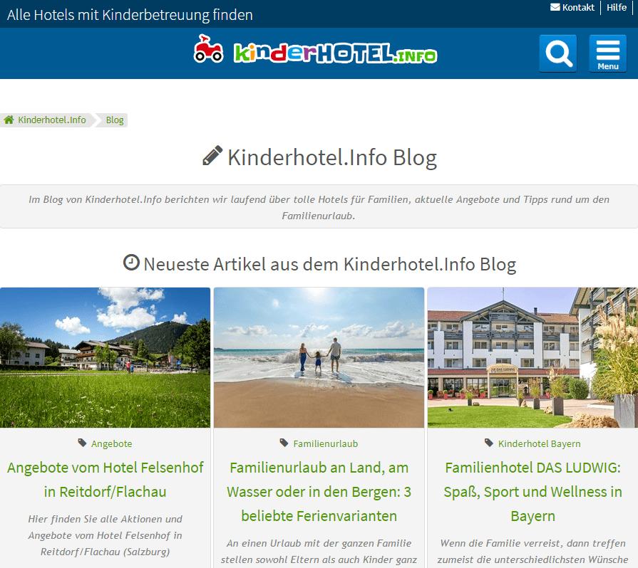 Der portal-eigene Blog von Kinderhotel.info