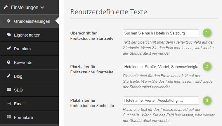 Benutzerdefinierte Texte für die Suche nach Einträgen