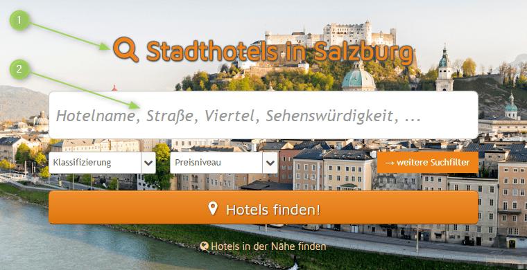 Suchfeld auf dem Branchenportal Hotels-Salzburg.info