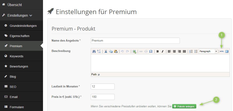 Premium Produkt anlegen
