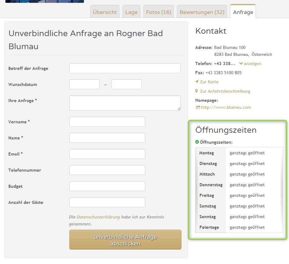 Anzeige von Öffnungszeiten im Kontakt-Bereich eines Unternehmens