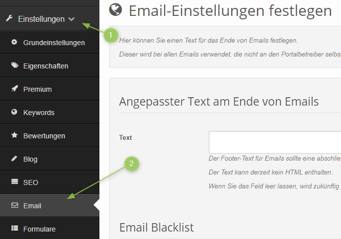 Email-Einstellungen im Branchenportal finden