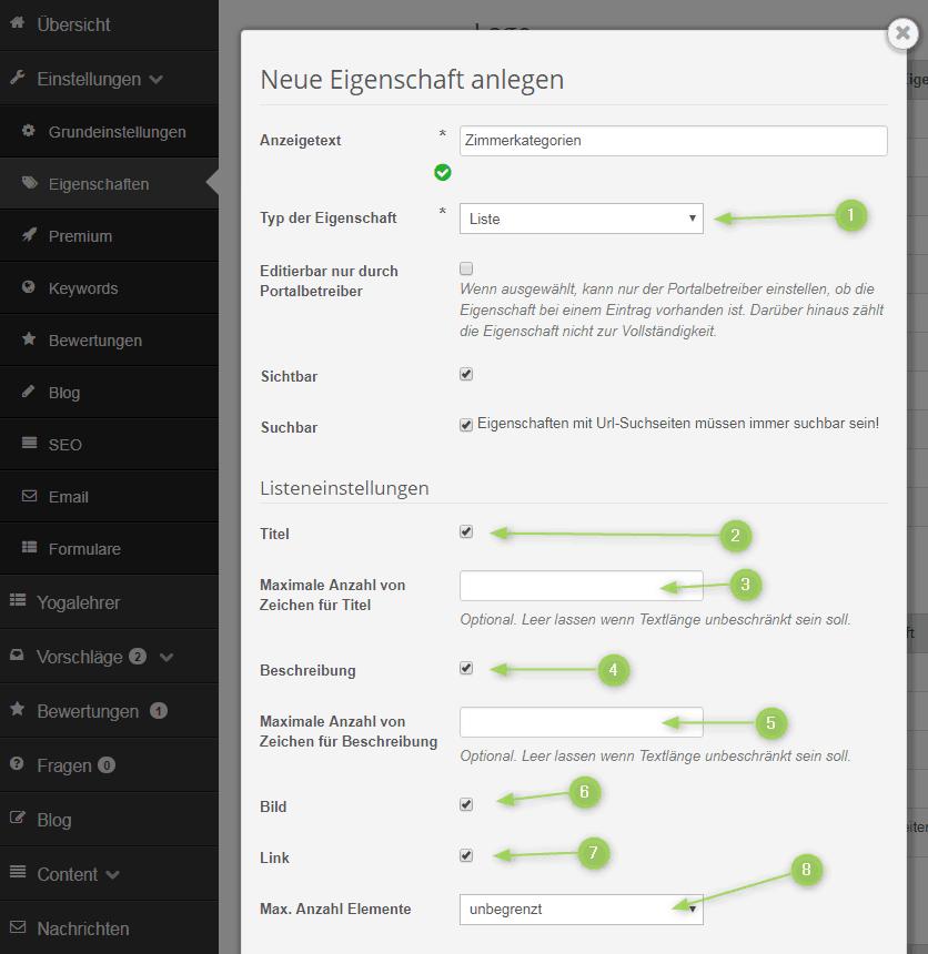 Liste-Eigenschaft anlegen und konfigurieren