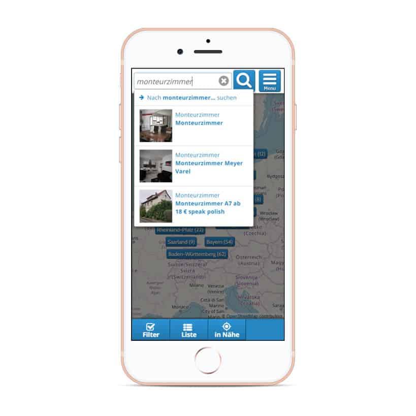 Globale Freitextsuche für mobile devices