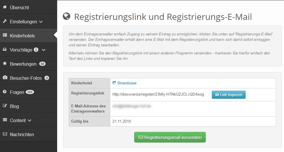 Registrierungslink anzeigen und Registrierungsmail versenden
