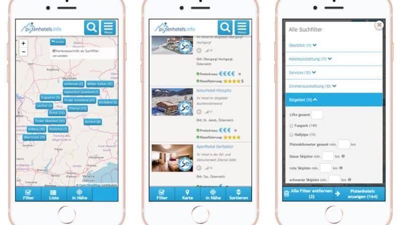 verbesserte Usability für mobile Endgeräte auf der Branchenportal Suchseite: Karte, Liste und Filter