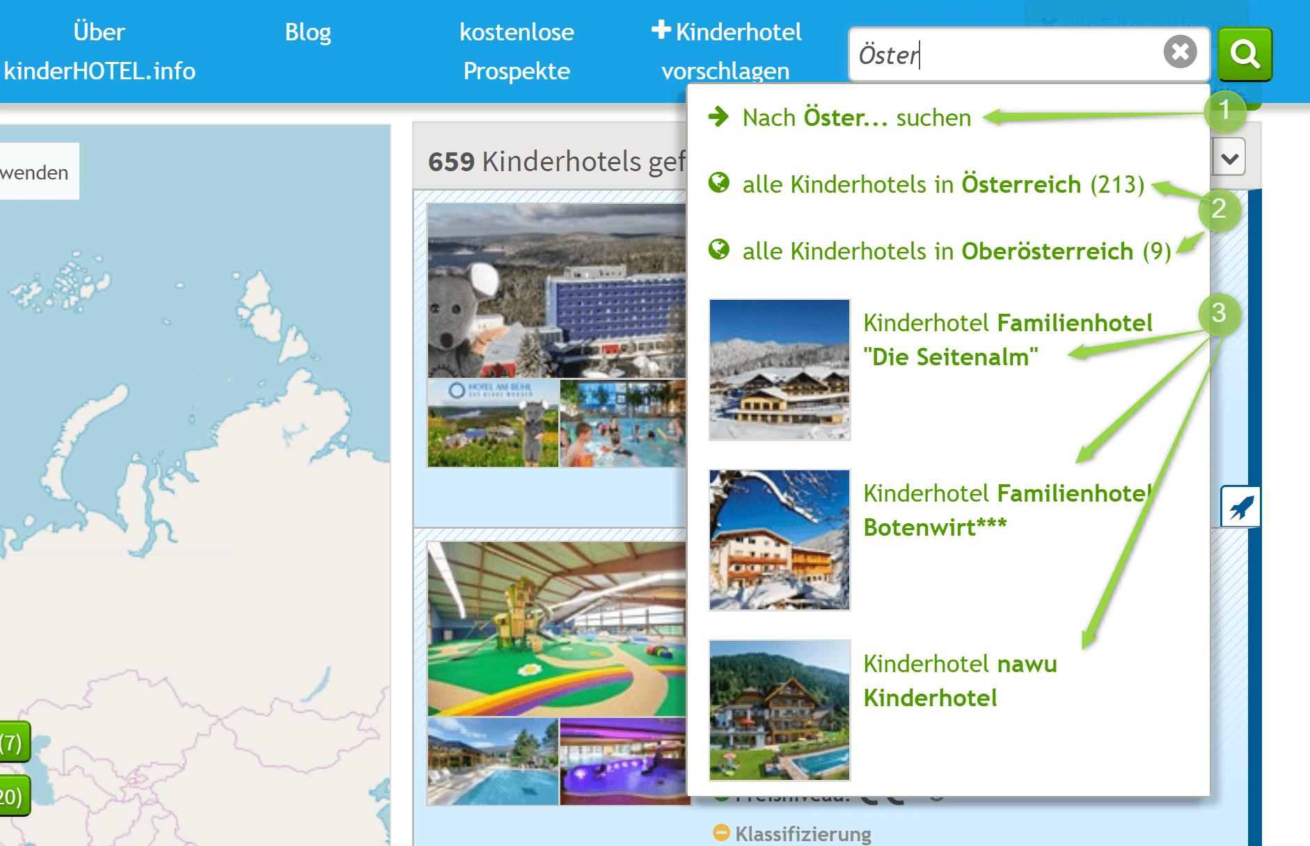 Vorschläge für Suchseiten für Orte bei der Freitextsuche