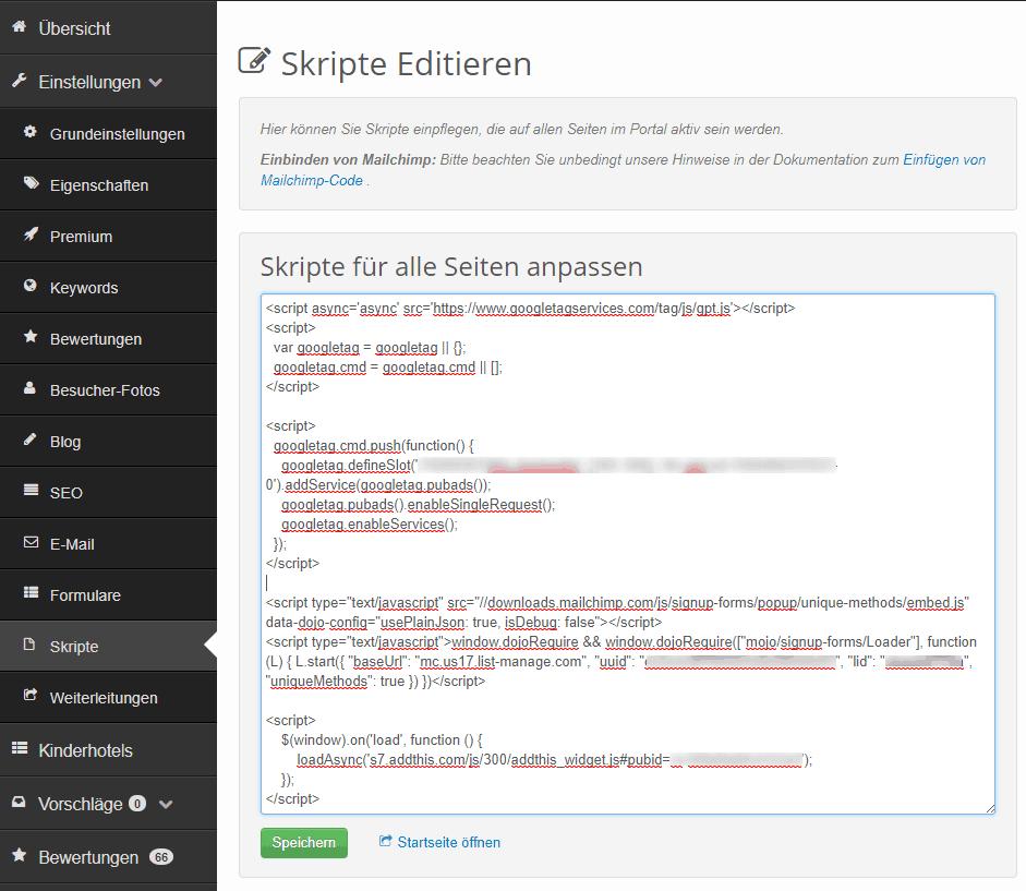 Skripte eingeben in der Portal-Verwaltung