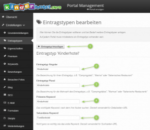 Branchenportal Softwarte mit mehreren Eintragstypen: Bearbeiten und verwalten