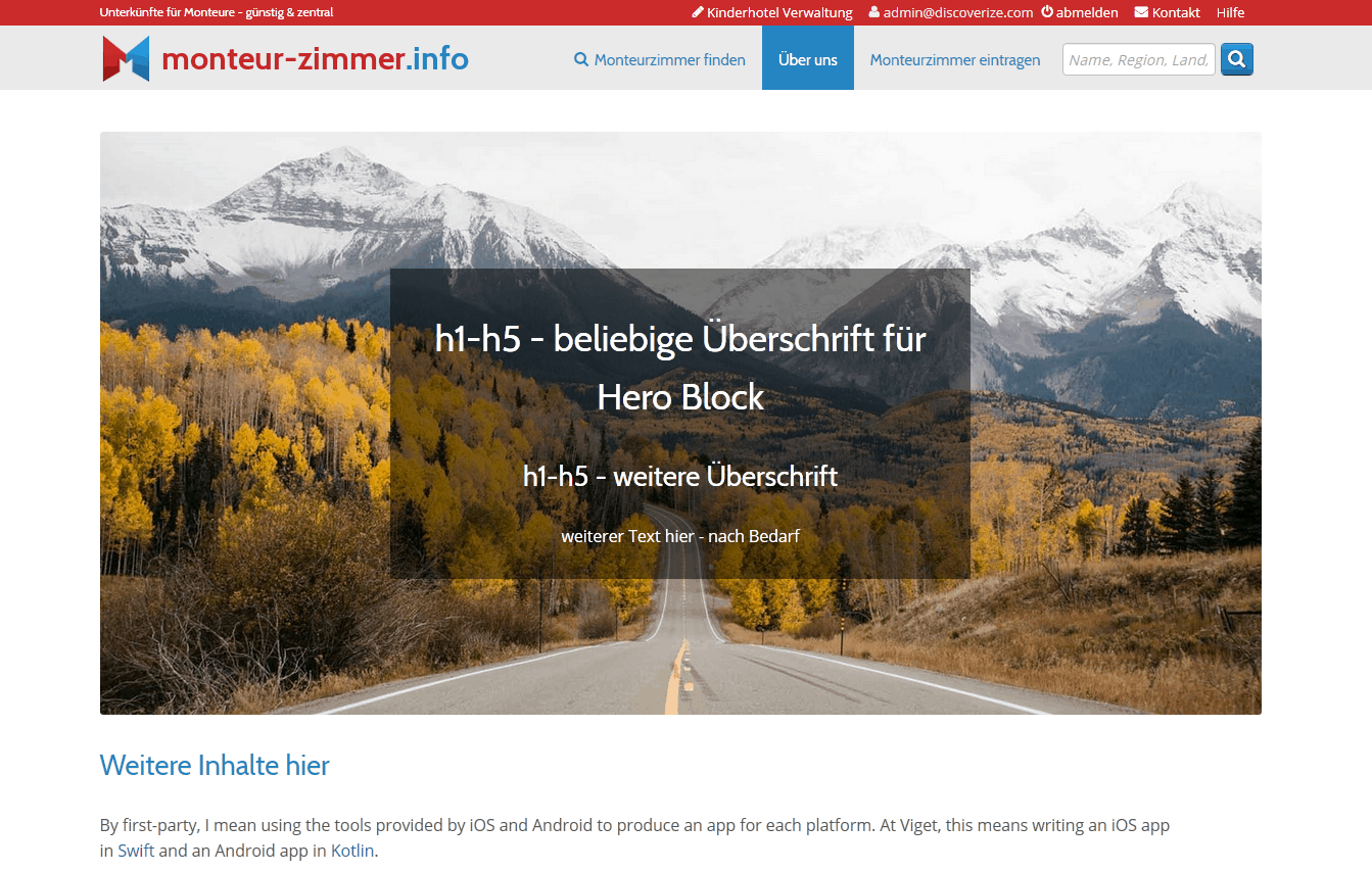 Html Vorlage für Content Management (CMS): Hero Block - Bild mit Text