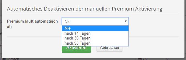 Manuelles Premium für begrenzten Testzeitraum aktivieren