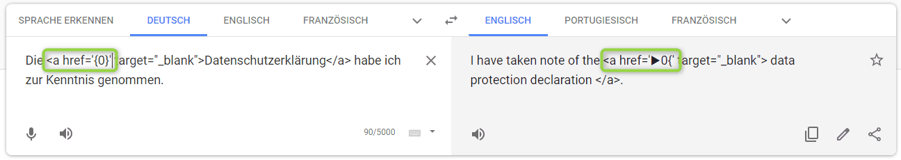 Probleme mit Placeholder / Variable bei Google Translate