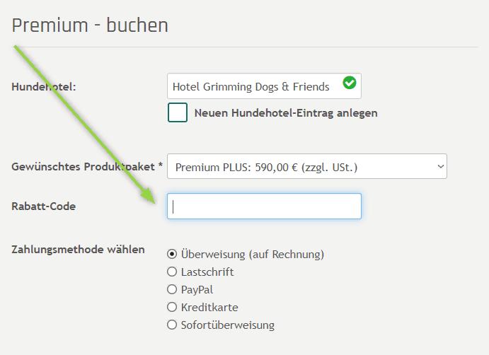 Screenshot from Rabatt-Code-Feld im Premium-Forumular