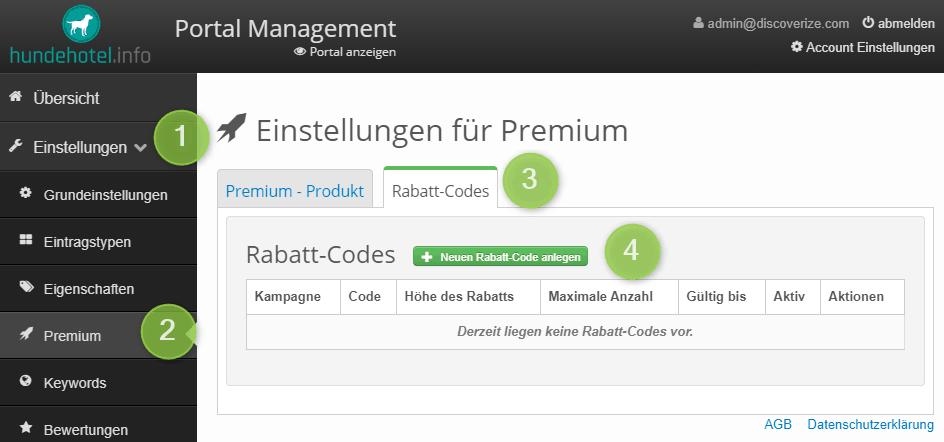 Übersicht Rabatt-Codes im Portalmanagement